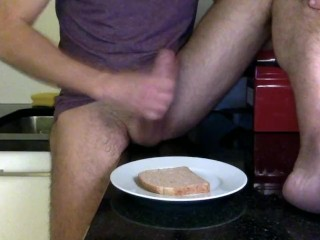 Midnight snack in need of protein eating jerking...