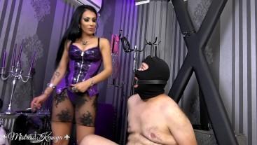 Mistress Kennya: Humiliated small dick in bondage