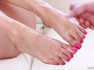 Sexy cum on feet compilation with huge facial to end
