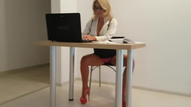 Horny secretary surprised by her staff fucking her pussy in the office 3