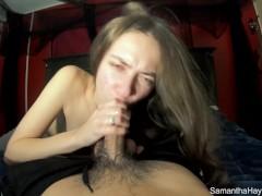 Sloppy Spit Obsessed Slut Samantha Sucks and Swallows Cum
