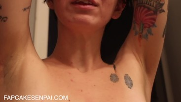Up Close Armpit Shaving Denial and Applying Deodorant