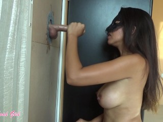 Hottie makes fantasy real – sucks on cock at gloryhole, wow!