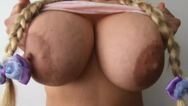 Busty Blonde with Big and Perfect Naturals Tits - Lily Secret