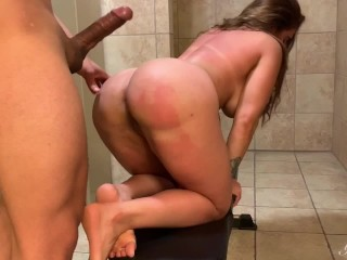 Sweaty fuck after workout in the gym's bathroom