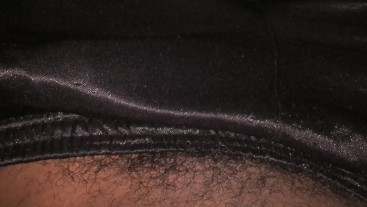 Big cock plays around in gym shorts