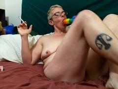 Shantastic hairy milf teasing smoking squirting on her rainbow dildo