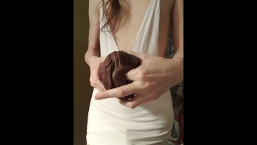 Trans girl using her Bad Dragon fleshlight
