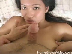 Big tit Asian amateur sucking a hard cock in POV
