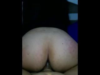 Girlfriend bouncing in white cock...