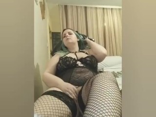 First Fishnet Stockings Video Pussy Play with Feet – BBW with Nice Outfit