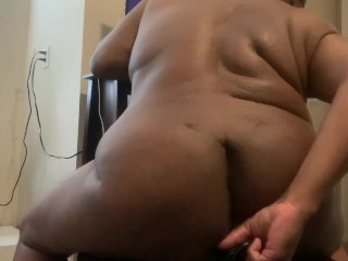 Fat chubby college fucks himself with dildo...