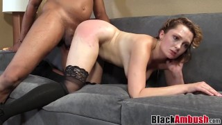 Babe Nikki toys pussy before 1st interracial creampie