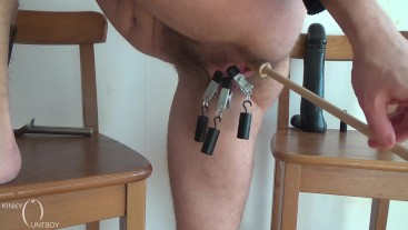 Big horny pussy clamped shut and poked