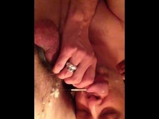 Daddy feeds cock sucker of cum...