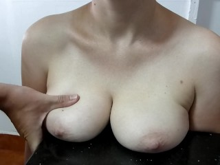 Cum Glazed Tits On The Cold Kitchen Top