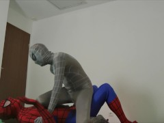 Superheroes Zentai Balls-Fight (Balbusting Wrestling) with servilejerome