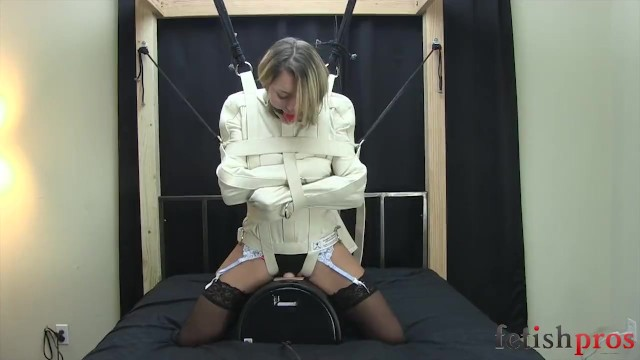 Vintage triumph jacket Straight jacket fixed to a sybian