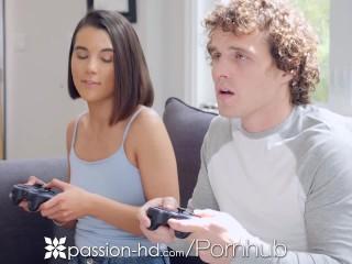 PASSION-HD Step Sister Fucks Big Dick!Video Game Bonding