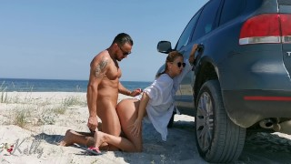 Amateur couple have hot sex on the beach . WetKelly
