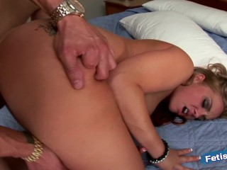 Young blonde picked up in public and fucked by a huge white cock
