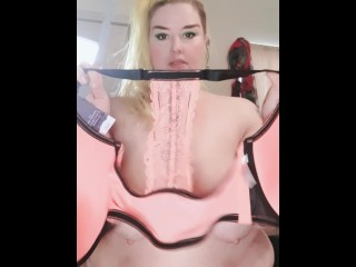Bbw tries on bras and lingerie for you ! :)