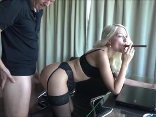 Sexy secretary got fucked by boss Blowjob cumshot
