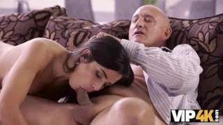 VIP4K. Bald handsome step dad has powerful cock for busty brunette