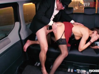 VIPSEXVAULT – Horny British Slut Fucked Hard In a Czech Taxi