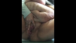 BBW squirt at work in bathroom