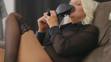 Sexy Black Stocking Self Toe Suck