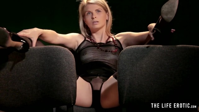 Erotic horror movie clips - Skinny blonde girl has a really powerful orgasm at the movies