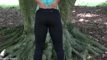 German amateur girl needs to pee in public park - Theodora Einhorn
