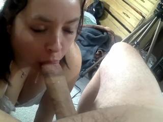 Her face covered in cum...