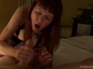 Dominant mature woman handjob fun...