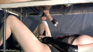 Femdom Milking Gloryhole Vibrator Controller! Filling Up Condom