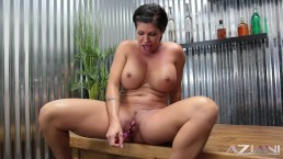 Short Hair MILF Shay Fox showing on her sturdy body before fucking herself