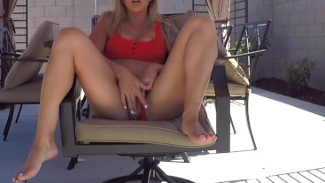 College Babe Plays with Pussy Outside for Perv Husband Neighbor Next Door