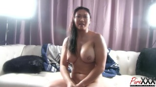 BTS interview with busty Asian starlet Nyomi Star