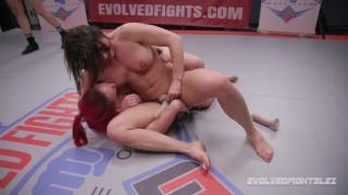 Ariel X Dominates Bella Rossi in Lesbian Wrestling Match with strapon sex
