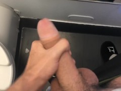 College Boy with Huge Dick Cums on Plane