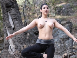 Forest beach topless yoga...