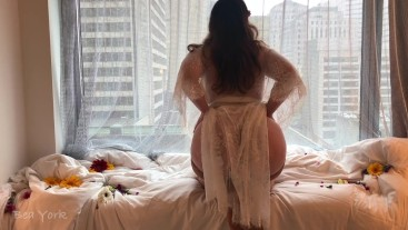 Floral and Lace Window Masturbation