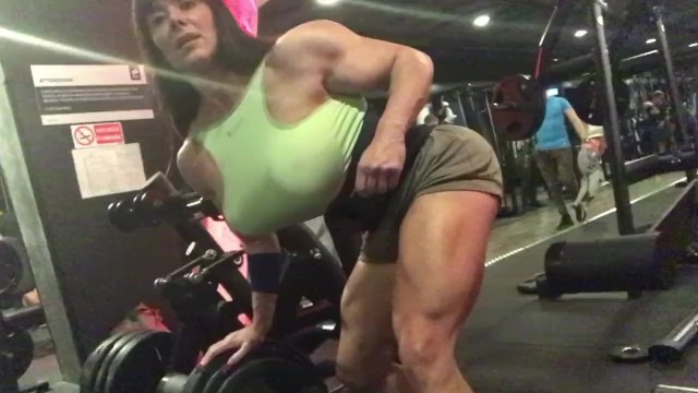 Nude women doing exercises - She hulk with huge tits in gym. brutal exercise.