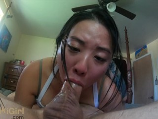 SLOPPY upside down Blowjob from Asian goddess @sukisukigirlReal