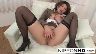 Busty Asian babe fingers her tight wet pussy