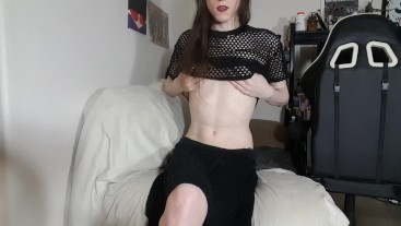Goth Trans Girl slowly strips + huge cumshot for the camera