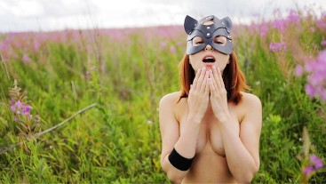 Slutty wild cat play with foreskin and swallow cum outdoor