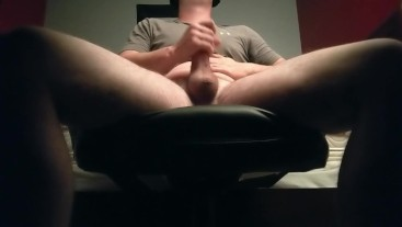 Jerking my thick cock under the desk