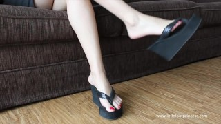 Wedge Foot Dangling With Red Toe Nails   Little Foot Princess